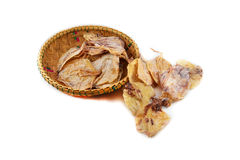 Dried squid basket Stock Image