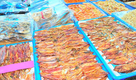 Dried squid market Stock Photo