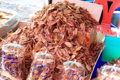 Dried squid for sale Stock Photo