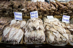 Dried squid sale in market Stock Photo
