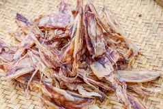 Dried squids in seafood market Royalty Free Stock Photos