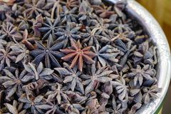 Dried Star Anise Badian at spice market royalty free stock photo