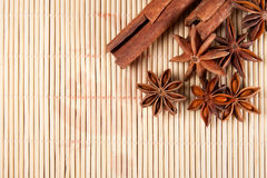 Dried star anise and cinnamon sticks Royalty Free Stock Image