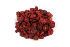 Dried strawberries. Horticultural dried strawberries on a white background Royalty Free Stock Image