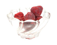 Dried Strawberries In Bowl Side View Stock Images