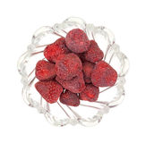 Dried Strawberries In Bowl Top View Stock Images