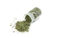 Dried tarragon leaves in a glass bottle. On a white background stock photos