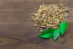 Dried tea with green leaves on a dark wooden background stock photos