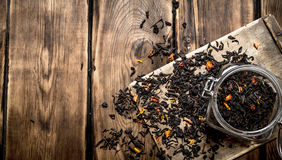 Dried tea in the jar. Stock Images