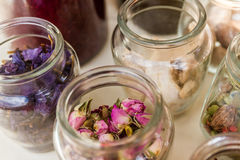 Dried tea leaves and flowers Stock Photos