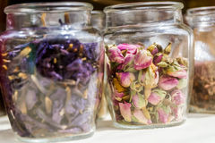 Dried tea leaves and flowers Stock Photography