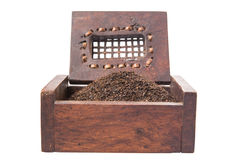 Dried Tea Leaves In Wooden Box VI Stock Photos