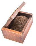 Dried Tea Leaves In Wooden Box X Stock Image
