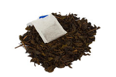 Dried tea and tea bag. Royalty Free Stock Photography