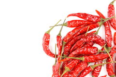 Dried thai chili peppers isolated on a white background Stock Photos