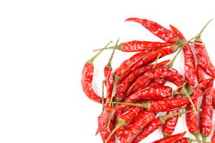 Dried thai chili peppers isolated on a white background Stock Photography
