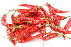 Dried thai chili peppers isolated on a white background Royalty Free Stock Images