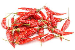 Dried thai chili peppers isolated on a white background. As a food background texture Royalty Free Stock Images