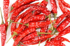 Dried thai chili peppers  on a white background Stock Photos