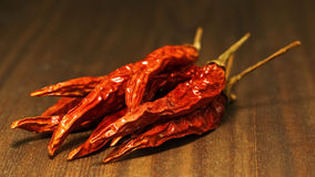 Dried thai chili pods Royalty Free Stock Images