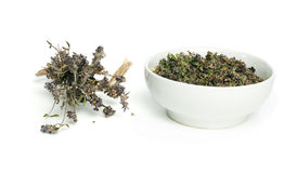Dried thyme in a bowl and thyme twigs Stock Image