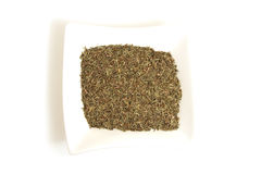 Dried Thyme In Square White Bowl Royalty Free Stock Photography