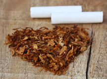 Dried tobacco leaves and cigarette Stock Photos