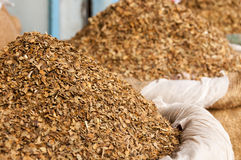 Dried Tobacco Leaves In Sacks To Sell Stock Image