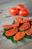 Dried tomatoes. Special preparation of tomatoes according to a typical Mediterranean recipe Royalty Free Stock Photos