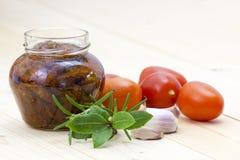 Tomatoes, garlic and herbs Stock Photo