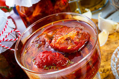 Dried tomatoes in olive oil. Royalty Free Stock Photos