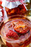 Dried tomatoes in olive oil. Stock Images
