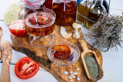 Dried tomatoes in olive oil. Stock Image