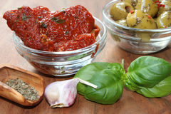 Dried tomatoes and olives as starter Stock Photography