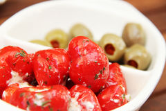 Dried tomatoes, olives and peppers Stock Photography