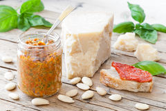 Dried Tomatoes Pesto With Almonds And Basil Stock Photos