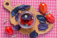 Dried tomatoes. Preparing dried tomatoes to conservation Royalty Free Stock Photos