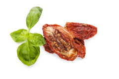 Dried tomatoes, top view. Royalty Free Stock Images