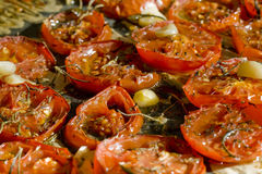 Dried tomatos. Homemade organic dried tomatos with thyme, rosemary, garlic and olive oil Royalty Free Stock Image