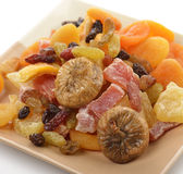 Dried Tropical Fruits Mix. In A Dish royalty free stock photos