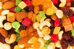 Dried tropical fruits and nuts royalty free stock photos