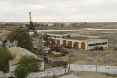 Dried up port at Aral sea shore in Aralsk, Kazakhstan. Royalty Free Stock Image