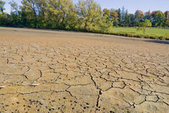 Dried-up River bed - Landscape. A dried-up, cracking river bed, focusing on the riverbed texture, with some foliage and sky in the background Royalty Free Stock Photography