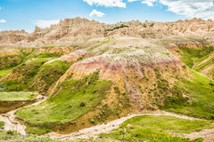Dried up stream in Badlands National Park Royalty Free Stock Photos