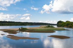 Dried up the water in the Vistula river in Kazimie Royalty Free Stock Images