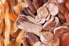 Dried various fruits. Ecological food. Closeup of various dried fruits. Ecological food. View from above Stock Photos