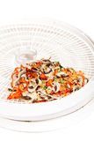 Dried vegetables on food dehydrator tray Royalty Free Stock Images