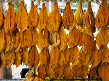 Dried Vietnamese catfish or pangasius are for sale on the street royalty free stock photography