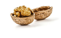Dried walnut close up Stock Photos