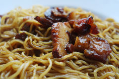 Dried wanton noodle with barbecue pork Stock Photos